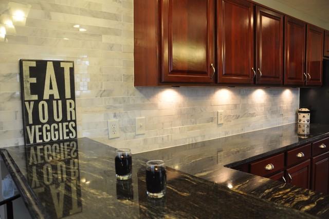 Granite Countertops and Tile Backsplash Ideas - Eclectic ... on Kitchen Backsplash Backsplash Ideas For Granite Countertops  id=81980
