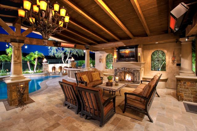 Outdoor Rooms/Patio Covers - Mediterranean - Patio ... on Backyard Patio Enclosure Ideas  id=65914