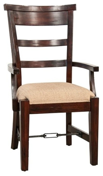 Cushioned Ladderback Dining Chair, Rustic Mahogany, Arm Chair