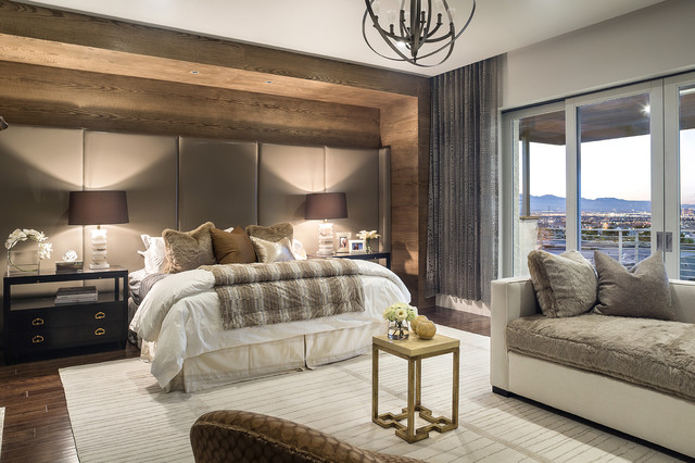 Use these tips and tricks to make your cozy home feel spacious and comf. 2014 New American Home - Contemporary - Bedroom - Las