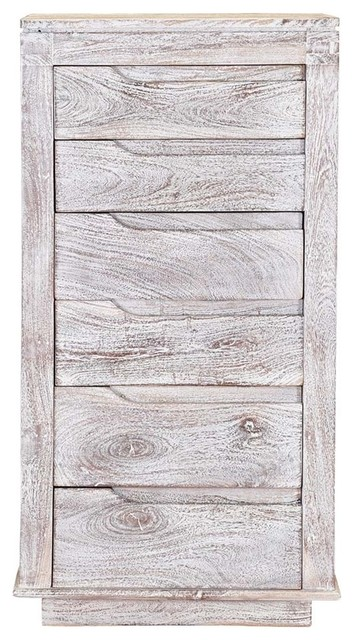 neve solid mango wood white washed 6 drawer tall dresser chest