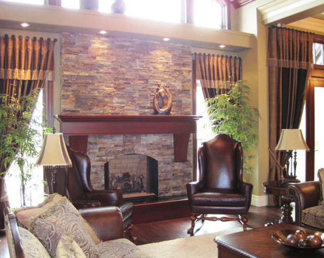 Traditional Open Concept Stone Fireplace Traditional