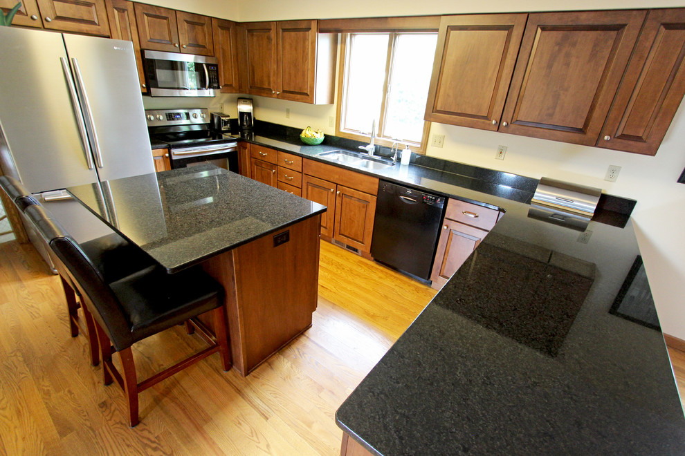 Maple Kitchen Cabinets with Black Pearl Granite ... on Maple Kitchen Cabinets With Black Countertops  id=61894