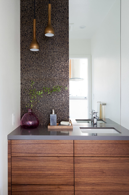Mid Century Redesign Modern Powder Room Los Angeles