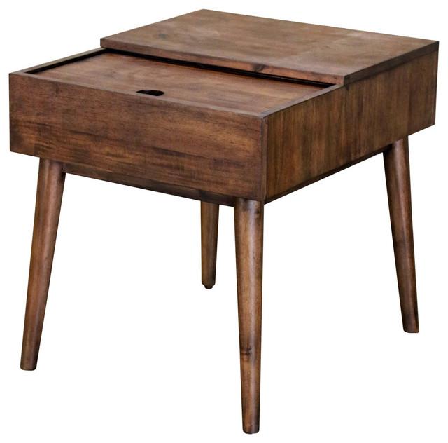 mid century modern rectangular sliding top end table dark wood finish