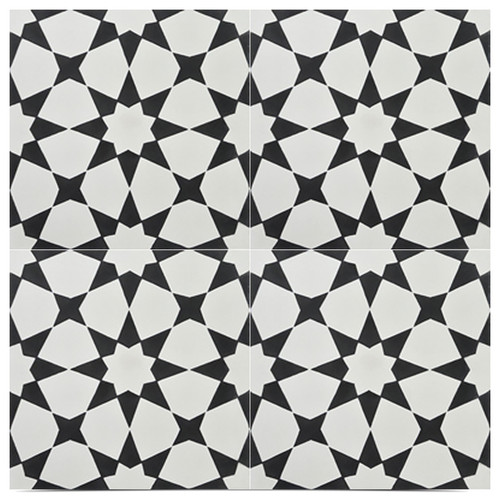 "Medina Handmade Cement Tile, Black and Off-White, Set of 12, 8""x8"""