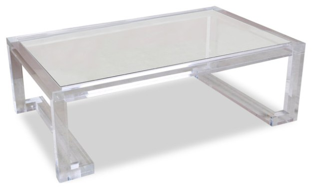 ava hollywood regency modern glass acrylic coffee table