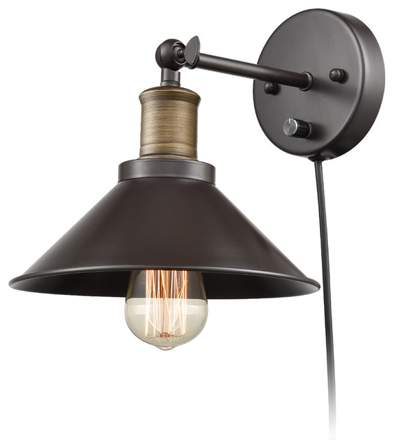 Industrial Oil Rubbed Bronze Finish 1-Light Wall Sconce ... on Plugin Wall Sconce Lights id=70104