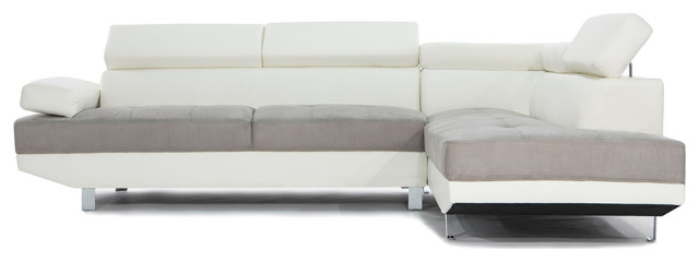 2 piece modern contemporary 2 tone faux leather sectional sofa white gray