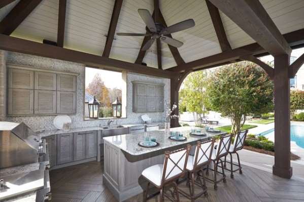 outdoor kitchen with pool and patio Outdoor Kitchen Pool Cabana - Traditional - Patio - Other