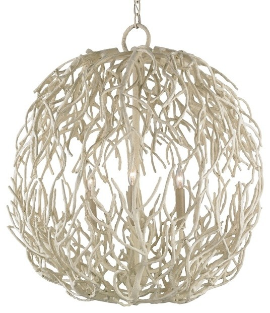 Currey Co 9501 Eventide White C 3 Light Chandelier Chandeliers