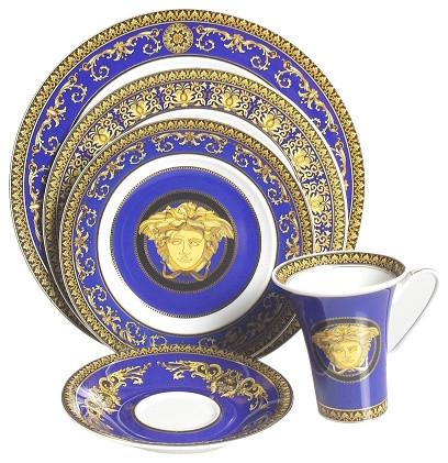 Versace Medusa Blue Victorian Dinnerware Sets By