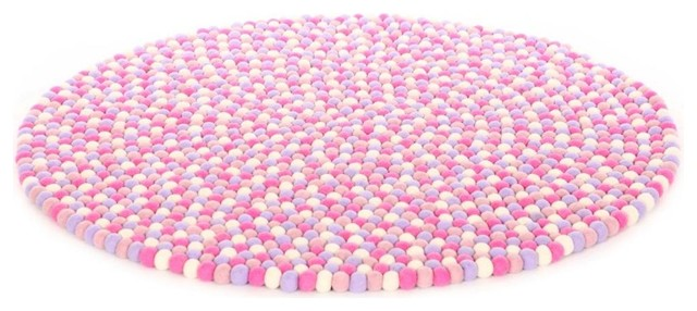 happy as larry marshmallow felt ball rug - contemporary - area