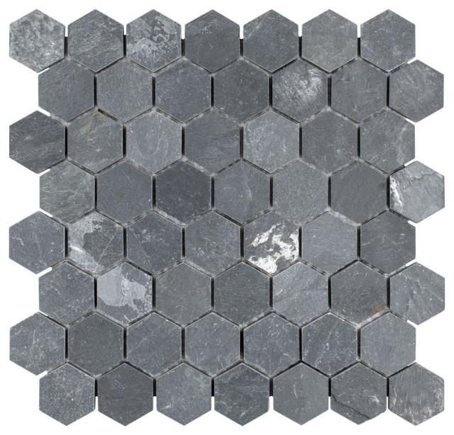 somertile 11 13 x11 13 crag hexagon mosaic floor wall tile black