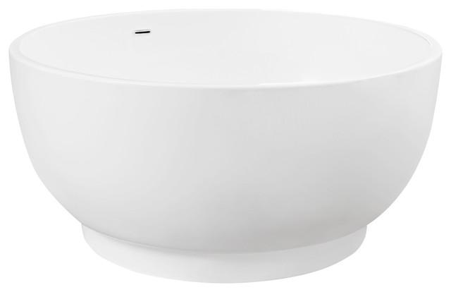 51 Omi Raised Round Acrylic Japanese Soaking Tub With Overflow White Contemporary Bathtubs
