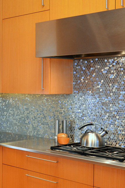 Stainless Steel Sparkles On Backsplash Contemporary Kitchen Dallas By HPD Architecture