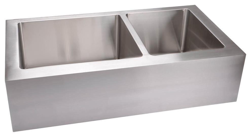 hahn extra large 60 40 flat apron double bowl kitchen sink