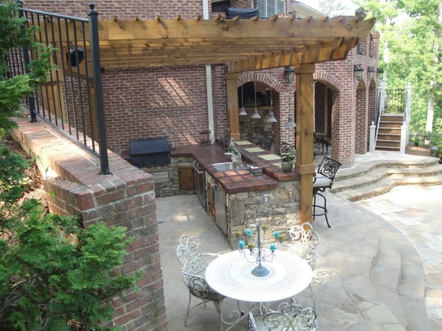 Outdoor Kitchen Bar and Grill - Traditional - Patio ... on Outdoor Grill Patio id=38742