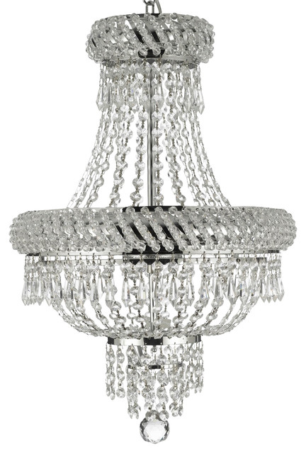 French Empire Crystal Chandelier Silver 22 X15 3 Light Transitional