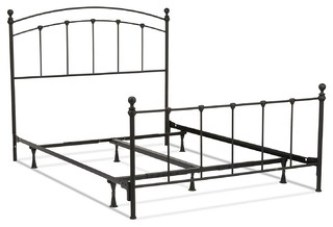 Queen Metal Bed Frame With Round Final Posts Headboard and Footboard