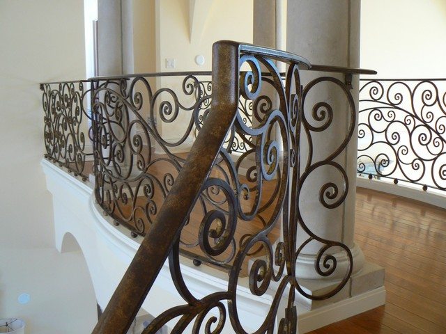 French Country Home Railing Mediterranean Staircase