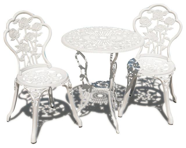 new 3pc patio bistro set table chair set outdoor garden furniture antique white