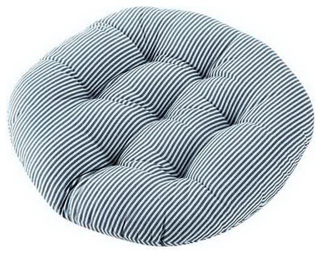 cotton linen round chair cushion filled seat cushion titami cushion blue stripe