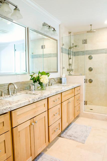 Modern Natural Master Bathroom - Transitional - Bathroom ... on Bathroom Ideas With Maple Cabinets  id=74538