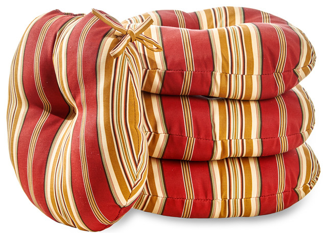 round 15 in outdoor bistro chair cushion set of 4 roma stripe