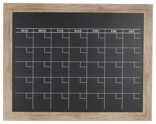 Beatrice Rustic Brown Framed Magnetic Chalkboard Calendar contemporary-bulletin-boards-and-chalkboards