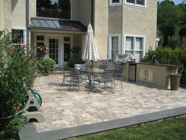 Beautiful Custom Travertine and Pennsylvania Bluestone ... on Travertine Patio Ideas id=96580