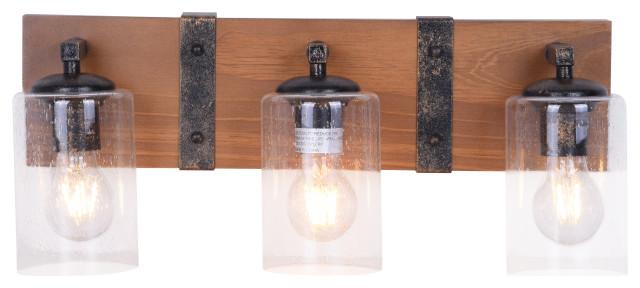 3 light wood and metal rustic farmhouse bathroom vanity light fixture