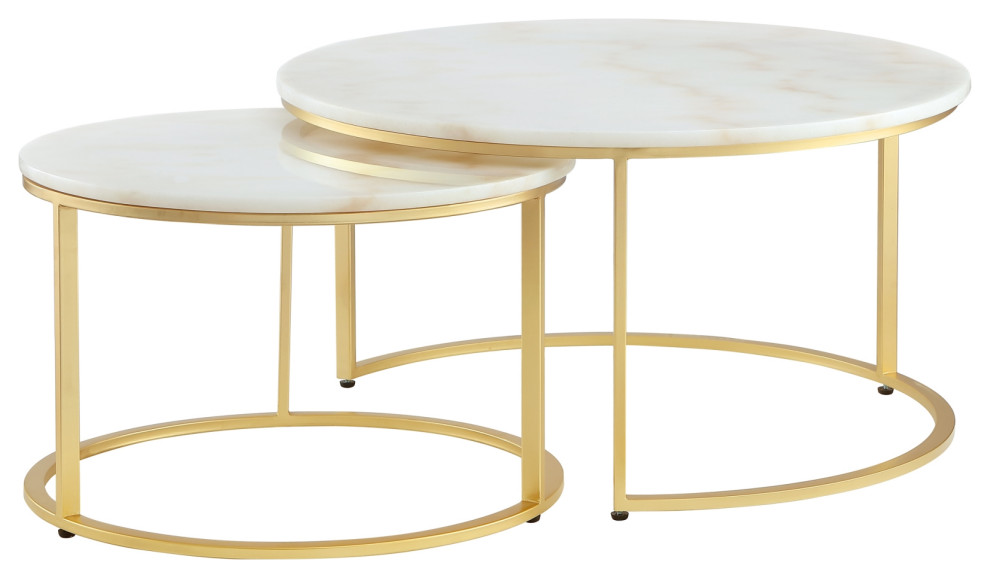 2 piece inspired home araya coffee table round marble stackable gold