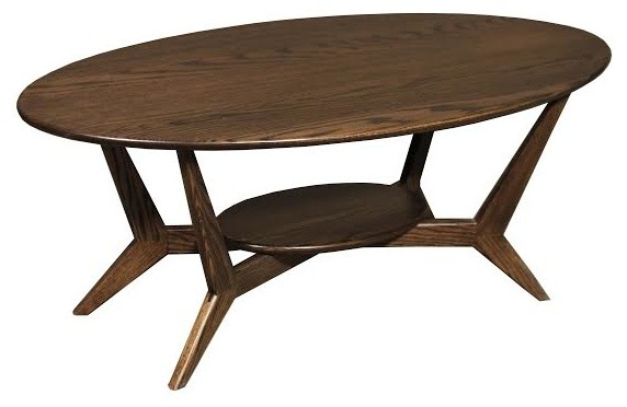 midcentury oval coffee table solid red oak