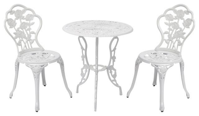 outdoor patio furniture 3pcs cast aluminum bistro set antique rose design white