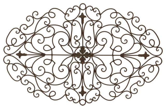 """Stefano Tuscan Wrought Iron Metal 32"""" Scrolling Oval Wall"""