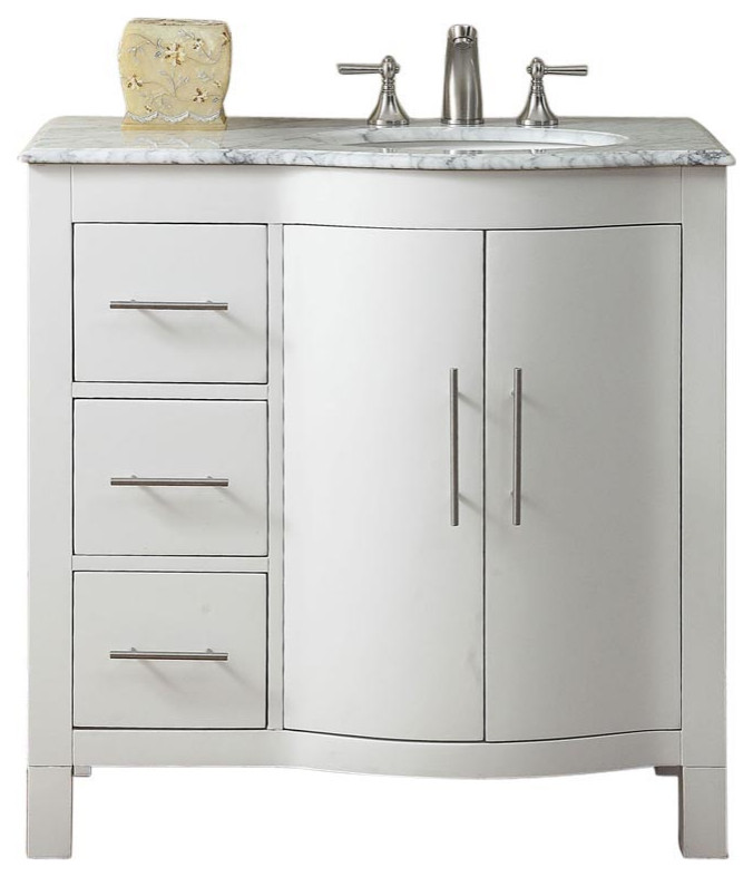 36 inch white bathroom vanity with choice of offset sink sink on the right