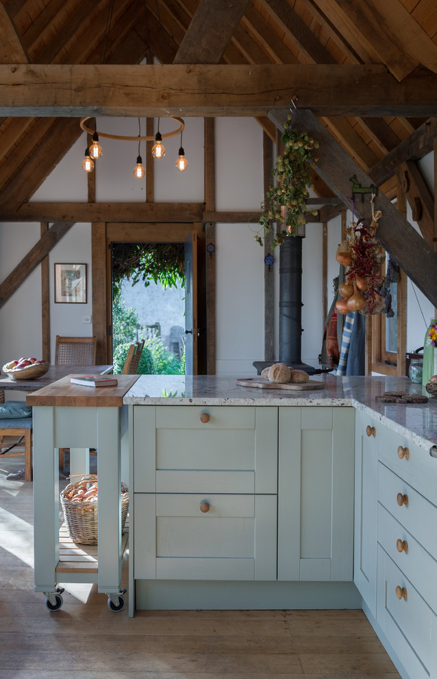 Country Style Sage Green Shaker Kitchen with Colonial ... on Farmhouse Kitchen Farmhouse Granite Countertops  id=33393