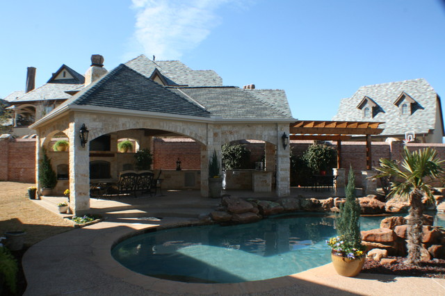 Fort Worth Covered Patio with Pergola Outdoor Kitchen and ... on Covered Outdoor Kitchen With Fireplace id=65578