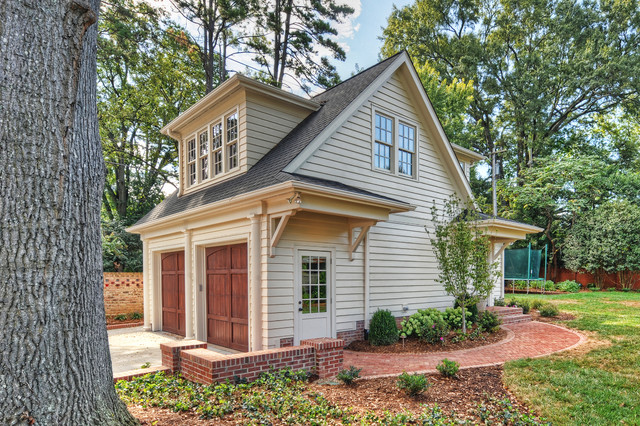 Example Of A Mid Sized Classic Detached Two Car Garage Design In Charlotte