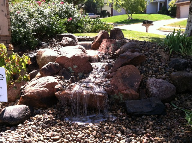 Front Yard Pondless Waterfall - Traditional - Landscape ... on Front Yard Waterfall Ideas id=43797