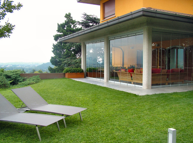 Patio closed off with folding glass doors, water and ... on Closed Patio Design id=48647