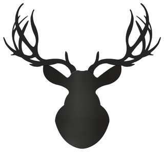 Midnight Buck, Large Pure Black Modern Deer Head Cut-Out