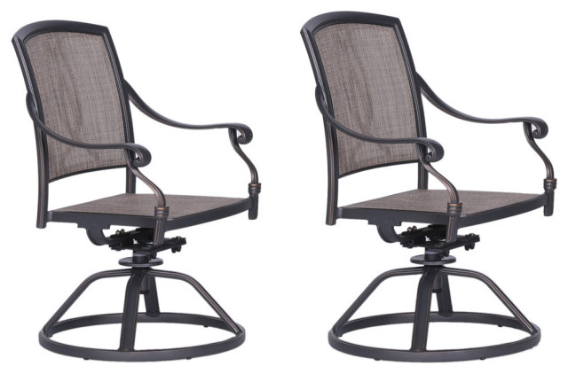 bellvue sling swivel rocker patio 2 chairs with aluminum frame
