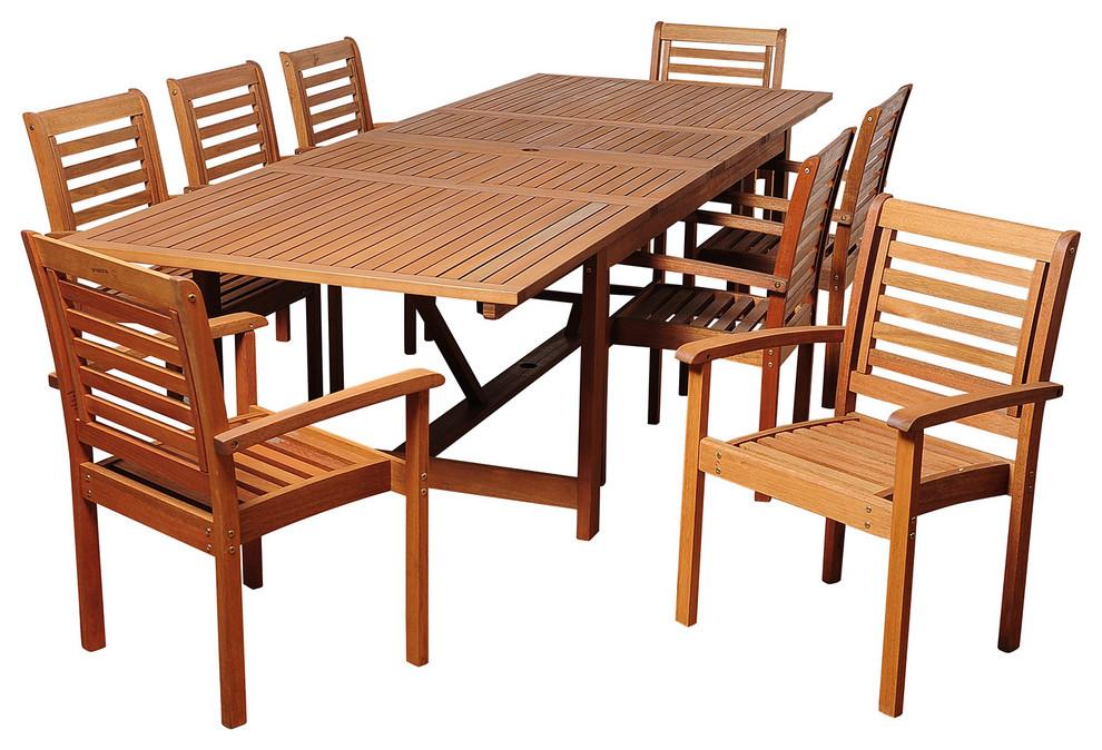 brooks 9 piece eucalyptus extendable rectangular patio dining set