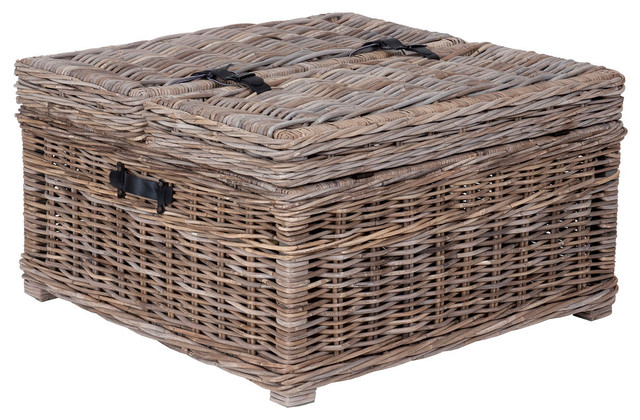 east at main s harbor gray rattan square coffee table