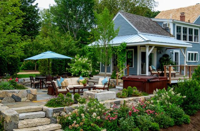 Country Farm House - Farmhouse - Patio - Boston - by a ... on Farmhouse Backyard Landscaping id=44737