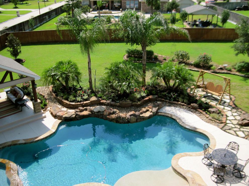 Backyard pool landscape - Tropical - Landscape - Houston ... on Tropical Backyard  id=39480