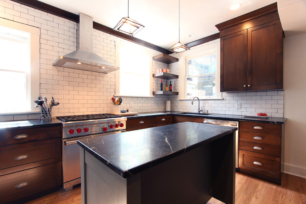 Soapstone Countertops with Dark Stained Maple Cabinets ... on Maple Cabinets Black Countertops  id=28898