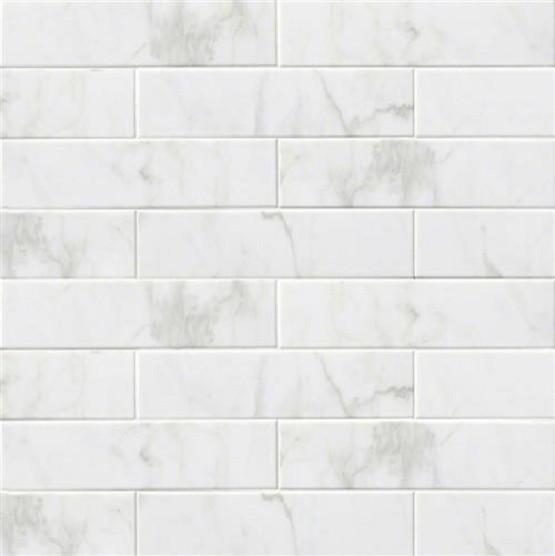 4 x16 subway backsplash tile ceramic glossy white carrara bathroom kitchen